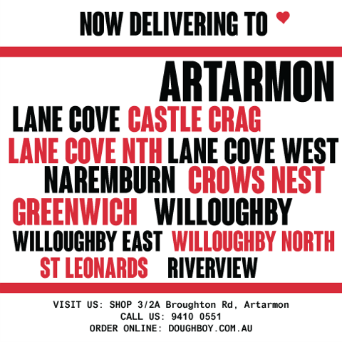 Pizza Delivered to Artarmon